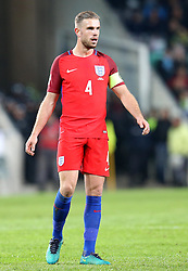 Jordan Henderson of England wears the captains armband for the game against Slovenia - Mandatory by-line: Robbie Stephenson/JMP - 11/10/2016 - FOOTBALL - RSC Stozice - Ljubljana, England - Slovenia v England - World Cup European Qualifier