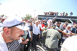 July 8, 2017 - Istanbul, Turkey - Turkey's main opposition Republican People's Party (CHP) leader Kemal Kilicdaroglu meets a man and his daughter as he leads thousands of supporters in the final kilometers of the ''Justice March'' on July 8, 2017 in Istanbul, Turkey. Kilicdaroglu began the 425-kilometer, Ankara to Istanbul protest march on June 15 to protest the conviction of CHP lawmaker Elis Berberoglu. The protest will end outside the prison where Berberoglu is being held. (Credit Image: © Emrah Oprukcu/NurPhoto via ZUMA Press)