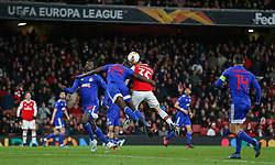 Gabriel Martinelli of Arsenal goes up for a header with Ousseynou Ba of Olympiacos - Mandatory by-line: Arron Gent/JMP - 27/02/2020 - FOOTBALL - Emirates Stadium - London, England - Arsenal v Olympiacos - UEFA Europa League Round of 32 second leg