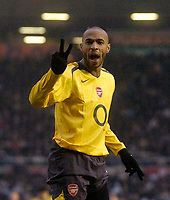 Photo: Glyn Thomas.<br />Birmingham City v Arsenal. The Barclays Premiership. 04/02/2006.<br />Arsenal's Thierry Henry celebrates scoring his side's second goal.