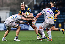 David Denton of Worcester Warriors is tackled by Ollie Atkins of Exeter Chiefs - Mandatory by-line: Craig Thomas/JMP - 27/01/2018 - RUGBY - Sixways Stadium - Worcester, England - Worcester Warriors v Exeter Chiefs - Anglo Welsh Cup