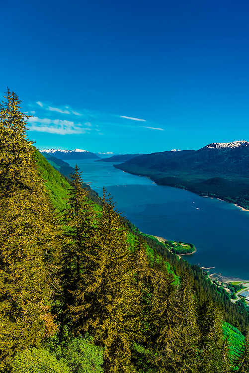 View from the Mt. Roberts Tramway above Juneau, southeast Alaska USA.