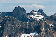 Liberty Bell Mountain, seen from Pacific Crest Trail at Cutthroat Pass, North Cascades mountain range, Okanagon National Forest, Washington, USA.