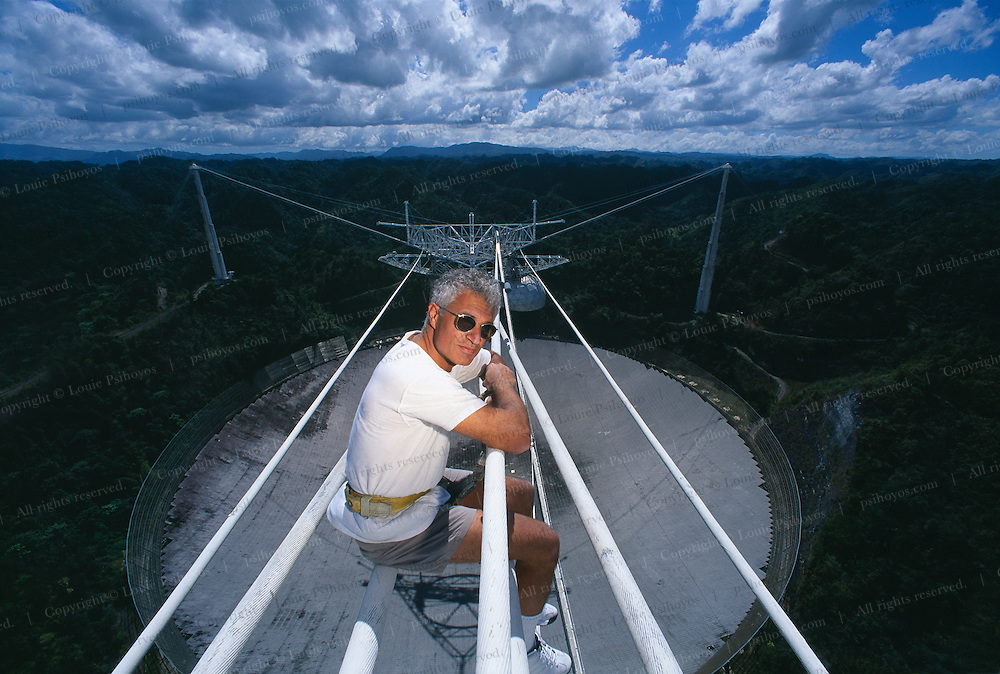 Photographer and author Louie Psihoyos on location at Arecibo Observatory.