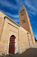 The Koutoubia Mosque completed 1199 with a square Berber minaret, Marrakesh, Morroco .<br /> <br /> Visit our MOROCCO HISTORIC PLAXES PHOTO COLLECTIONS for more   photos  to download or buy as prints https://funkystock.photoshelter.com/gallery-collection/Morocco-Pictures-Photos-and-Images/C0000ds6t1_cvhPo<br /> .<br /> <br /> Visit our ISLAMIC HISTORICAL PLACES PHOTO COLLECTIONS for more photos to download or buy as wall art prints https://funkystock.photoshelter.com/gallery-collection/Islam-Islamic-Historic-Places-Architecture-Pictures-Images-of/C0000n7SGOHt9XWI