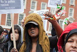 © Licensed to London News Pictures. 31/03/2012. London, England. Londoners led by Lee Jasper and Zita Holbourne of BARAC, today, 31 March, protested outside the U.S. Embassy in Grosvenor Square against the shooting of black hooded youth Trayvon Martin by George Zimmermann in Sanford, Florida. Photo credit: Bettina Strenske/LNP