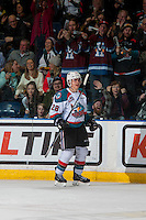 KELOWNA, CANADA - FEBRUARY 10: Leif Mattson #28 of the Kelowna Rockets celebrates his second goal of the game against the Vancouver Giants on February 10, 2017 at Prospera Place in Kelowna, British Columbia, Canada.  (Photo by Marissa Baecker/Shoot the Breeze)  *** Local Caption ***
