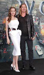 """Angelina Jolie and Brad Pitt during the premiere for """"World War Z"""" in Berlin, Germany,  04 June 2013. Photo by Agentur Schneider-Press / SA / Frau / i-Images. <br /> UK & USA ONLY"""