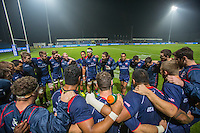 USA's captain, Todd Clever (C), gives a team talk to his players before their rugby test match between Romania and USA, on National Stadium Arc de Triomphe in Bucharest, November 8, 2014. Romania lose the match against USA, final score 17-27.