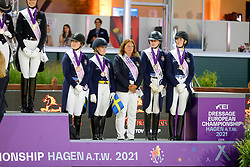 Team Sweden, Wahlund Nathalie, Lindvall Jennifer, Mattson Elin, Dolk Lina<br /> European Championship Dressage - Hagen 2021<br /> © Hippo Foto - Dirk Caremans<br /> 08/09/2021