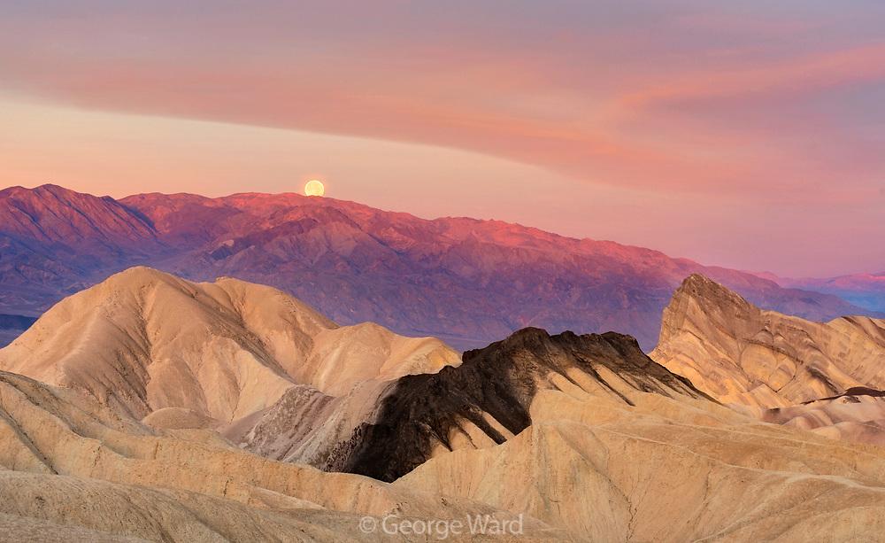 Setting Full Moon at Dawn, Death Valley National Park, California