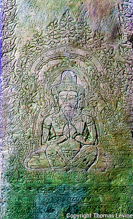 Artistic relief etched into the stone of a man praying to his god. Detailed art around him.