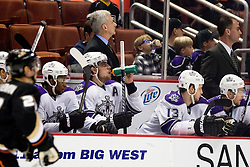 Anze Kopitar (Los Angeles Kings, #11) drinking on a bench during ice-hockey match between Anaheim Ducks and Los Angeles Kings in NHL league, Februar 23, 2011 at Honda Center, Anaheim, USA. (Photo By Matic Klansek Velej / Sportida.com)