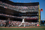San Francisco Giants left fielder Angel Pagan (16) swings at a pitch against the Arizona Diamondbacks at AT&T Park in San Francisco, Calif., on August 31, 2016. (Stan Olszewski/Special to S.F. Examiner)