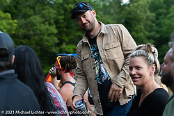 Matthew Gardipee of Harley-Davidson on a hayride during the Tennessee Motorcycles and Music Revival at Loretta Lynn's Ranch. Hurricane Mills, TN, USA. Sunday, May 23, 2021. Photography ©2021 Michael Lichter.