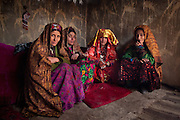 The bride and friends. In Tchelekand village...Driving down from Sarhad village, end of the road in the Wakhan corridor, to Ishkashim town, on the Tajikistan border.