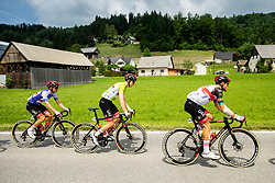 Rafal MAJKA of UAE TEAM EMIRATES, Matteo TRENTIN of UAE TEAM EMIRATES and Tadej POGACAR of UAE TEAM EMIRATES during the 5th Stage of 27th Tour of Slovenia 2021 cycling race between Ljubljana and Novo mesto (175,3 km), on June 13, 2021 in Ljubljana - Novo mesto, Ljubljana - Novo mesto, Slovenia. Photo by Vid Ponikvar / Sportida