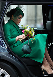 The Duchess of Sussex leaving after attending the Commonwealth Service at Westminster Abbey, London on Commonwealth Day. The service is the Duke and Duchess of Sussex's final official engagement before they quit royal life.