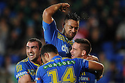 GOLD COAST, AUSTRALIA - JULY 26:  Corey Norman (R) of the Eels celebrates scoring a try with team mates during the round 20 NRL match between the Gold Coast Titans and the Parramatta Eels at Cbus Super Stadium on July 26, 2014 on the Gold Coast, Australia.  (Photo by Matt Roberts/Getty Images)