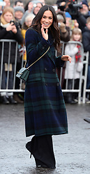 Meghan Markle during a walkabout on the esplanade at Edinburgh Castle, during their visit to Scotland. Photo credit should read: Doug Peters/EMPICS Entertainment