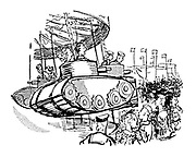(A fairground ride with boats shaped like tanks)