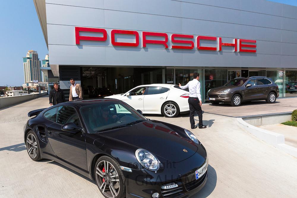 Luxury Porche showroom Dogus Oto Porsche (Otomotiv) at Dogus Center in Maslak financial business district, Istanbul, Turkey