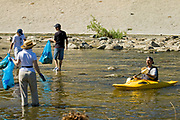 "Ocean Kayak at FoLAR's annual ""La Gran Limpieza"" clean up of the Los Angeles River. Bette Davis Picnic Area. Glendale Narrows. Los Angeles."