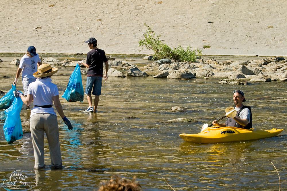 "Ocean Kayak at FoLAR's annual ""La Gran Limpieza"" clean up of the Los Angeles River. Bette Davis Picnic Area. Glendale Narrows. Los Angeles."