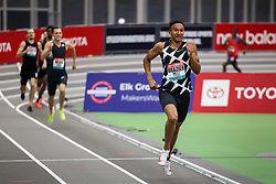 New Balance Indoor Grand Prix<br /> Staten Island, New York, February 13, 2021<br /> Donovan Brazier, Nike, races to a new American record in 1:44.21 in the mens 800m,