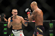 Rory MacDonald throws a punch against Robbie Lawler during UFC 189 at the MGM Grand Garden Arena in Las Vegas, Nevada on July 11, 2015. (Cooper Neill)
