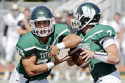 09 September 2017:  Brandon Bauer, Nick Harcar during an NCAA division 3 football game between the Nebraska Wesleyan PRAIRIE WOLVES and the Illinois Wesleyan Titans in Tucci Stadium on Wilder Field, Bloomington IL