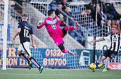 Falkirk's Craig Sibbald scoring their first goal past St Mirren's keeper Jamie Langfield. <br /> Half time ; Falkirk 2 v 0 St Mirren. Scottish Championship game played 21/10/2015 at The Falkirk Stadium.
