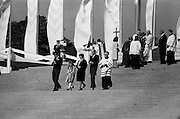 President and Mrs Hillery, with their daughter, Vivienne and son John, descend the steps of the specially-constructed alter in the Park, having received Communion from the Pontiff.<br /> 29/09/1979