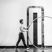 A performer from the show AAART! with his wheel, Barcelona