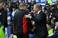 Bournemouth Manager Eddie Howe (l) shakes hands with Everton Manager Ronald Koeman prior to kick off. Premier league match, Everton vs Bournemouth at Goodison Park in Liverpool, Merseyside on Saturday 23rd September 2017.<br /> pic by Chris Stading, Andrew Orchard sports photography.