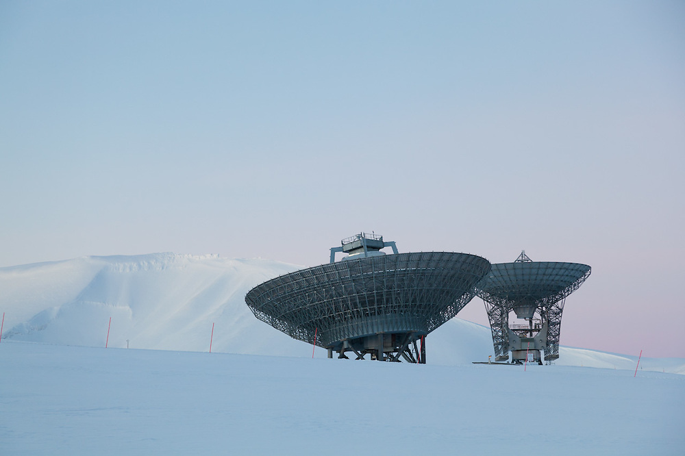 Radar antennas at the European Incoherent Scatter Scientific Association (EISCAT) facility on Breinosa, Svalbard. The technique is used to study the physics of the atmosphere and ionosphere.