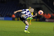 West Brom's Shane Long hits a cross into the box. FA Cup with Budweiser, 3rd round, West Bromwich Albion v Crystal Palace match at the Hawthorns in Birmingham, England on Saturday 4th Jan 2014.<br /> pic by Andrew Orchard, Andrew Orchard sports photography.