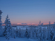 Sunset over the fells of  Pallas-Yllastunturi National Park on 19th February 2020 in Finnish Lapland.  Established in 2005, Pallas-Yllastunturi National Park is the third largest national park in Finland and is located in the Lapland region. The natural features and landscape of the fells have always enchanted hikers and the area offers magnificent fells and seemingly endless woodlands. Reindeer and reindeer husbandry play an important role in the National Park, with the area used for grazing and breeding.