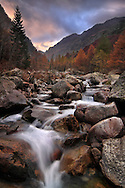 The Valle Gesso is just one out of the maze of short, steep and narrow valleys of the Alpi Marittime National Park in Southern Piedmont, Italy. I took this picture on a evening at the end of October just before sunset. Fall colours were at their best up there.