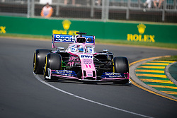 March 15, 2019 - Albert Park, VIC, U.S. - ALBERT PARK, VIC - MARCH 15: Racing Point F1 Team driver Sergio Perez (11) at The Australian Formula One Grand Prix on March 15, 2019, at The Melbourne Grand Prix Circuit in Albert Park, Australia. (Photo by Speed Media/Icon Sportswire) (Credit Image: © Steven Markham/Icon SMI via ZUMA Press)
