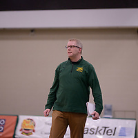 Regina Cougars Head Coach Greg Barthel in action during Men's Volleyball home game on February 3 at Centre for Kinesiology, Health and Sport. Credit: Arthur Ward/Arthur Images