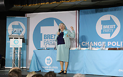 Ann Widdecombe speaks at a rally at Featherstone Working Man's Club, while on the European Election in Pontefract, West Yorkshire. Picture dated: Monday May 13, 2019. Photo credit should read: Isabel Infantes / EMPICS Entertainment.