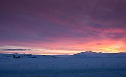 Sunrise and the glacier, Eyjafjallajokull in distance - Sólarupprás með Eyjafjallajökul í baksýn