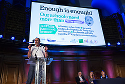 London, UK. 20th November, 2018. Kevin Courtney, Joint General Secretary of the National Education Union (NEU), addresses education staff, parents, governors, councillors, MPs and students at a March for Education rally to protest against crises involving education funding, recruitment, staff retention and remuneration.