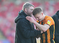 Hull City's manager Grant McCann  celebrates with Hull City's Greg Docherty as the game ends<br /> <br /> Photographer Mick Walker/CameraSport<br /> <br /> The EFL League 1 - Crewe Alexandra v Hull City  - Friday 2nd April  2021 - Alexandra Stadium-Crewe<br /> <br /> World Copyright © 2020 CameraSport. All rights reserved. 43 Linden Ave. Countesthorpe. Leicester. England. LE8 5PG - Tel: +44 (0) 116 277 4147 - admin@camerasport.com - www.camerasport.com