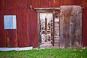 Tin building and door, Dolores, Colorado