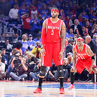 14 May 2015: Houston Rockets forward Josh Smith (5) is seen close to Houston Rockets guard Jason Terry (31) during the Houston Rockets 119-107 victory over the Los Angeles Clippers, in game 6 of the Western Conference semifinals, at the Staples Center, Los Angeles, California, USA.
