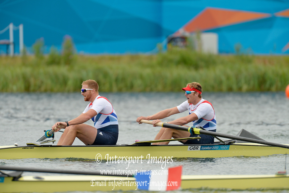 Eton Dorney, Windsor, Great Britain,..2012 London Olympic Regatta, Dorney Lake. Eton Rowing Centre, Berkshire[ Rowing]...Description; Men's Pairs Semi final 2. GBR M2- Bow George NASH and Will SATCH, gaining a place in the final by winning their semi.    Dorney Lake. 11:16:57  Wednesday  01/08/2012 [Mandatory Credit: Peter Spurrier/Intersport Images]  .