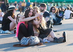 © Licensed to London News Pictures. 31/05/2014. Barcelona, Spain.   Festival atmosphere at Primavera Sound festival Day 4 - two girls take a 'selfie'.   Primavera Sound, or simply Primavera, is an annual music festival that takes place in Barcelona, Spain in late May/June within the Parc del Fòrum leisure site. Photo credit : Richard Isaac/LNP