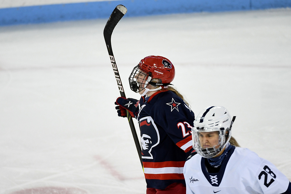 STATE COLLEGE, PA - FEBRUARY 05: Ellie Marcovsky #23 of the Robert Morris Colonials reacts after scoring a goal in the first period during the game against the Penn State Nittany Lions at the Pegula Ice Arena on February 5, 2021 in State College, Pennsylvania. (Photo by Justin Berl/Robert Morris Athletics)